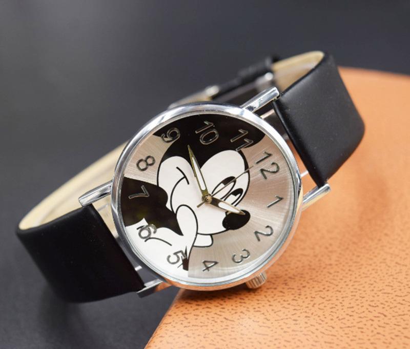 2018 Cute cartoon quartz wristwatch children leather Ladies watch Mickey women watches kid boy girls relojes