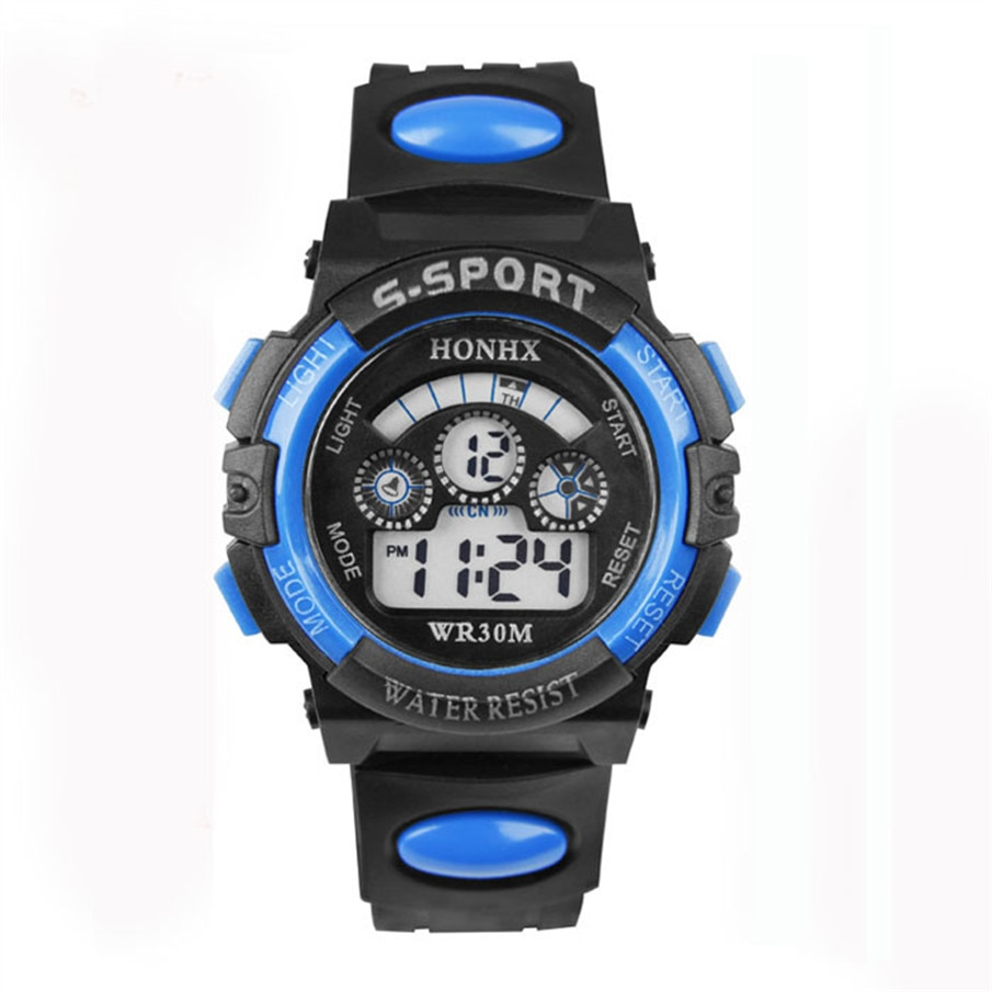 2018 Fashion Waterproof Children Kids Boy Watches Digital LED Quartz Alarm Date Sports Electronic Quartz Wrist Watch dropship