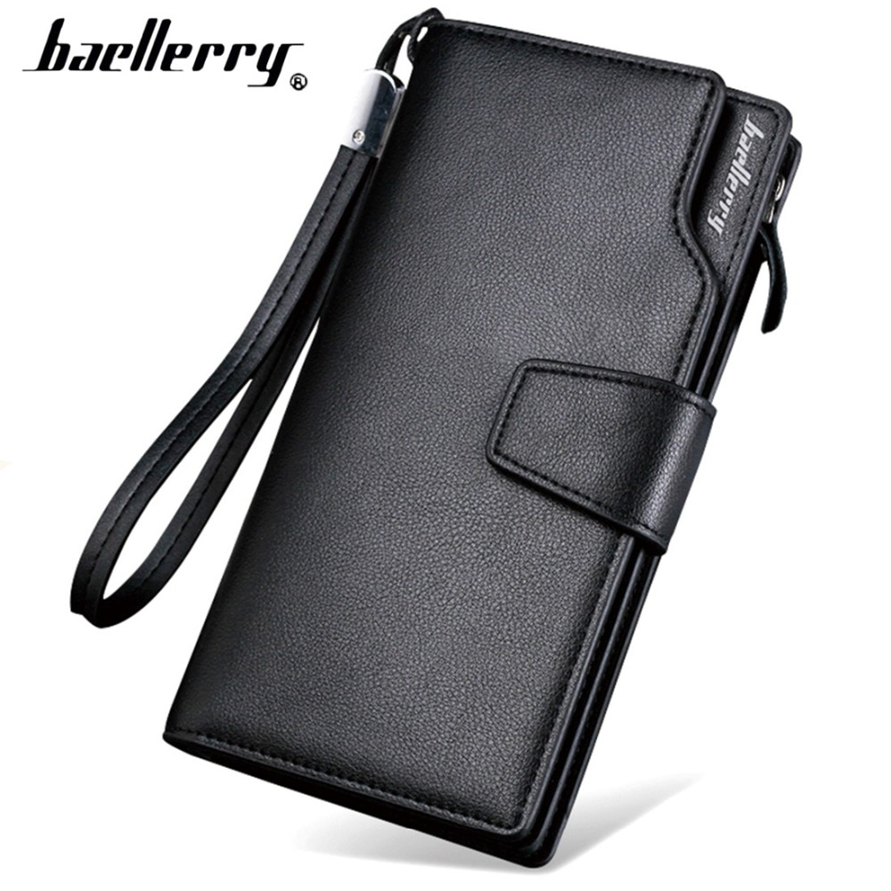 2019 Card Holder Men Wallets Business PU Leather Long Design Quality Fashion Casual Men Purse Zipper Multi-function Wallets