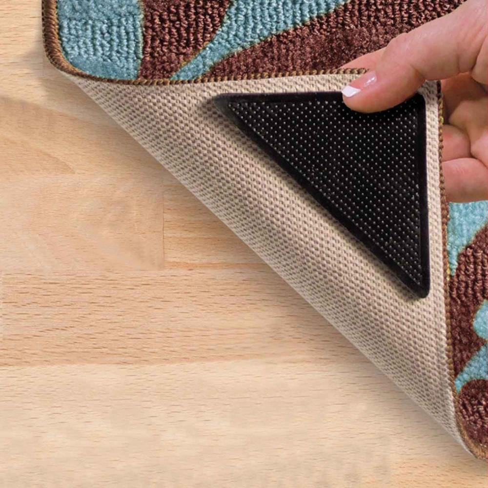 4pcs/Set Reusable Washable Rug Carpet Mat Grippers Non Slip Tri Sticker Silicone Grip For Home Bath Living Room Pads Anti Slip