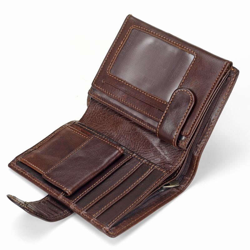 Baellerry Men Wallet Oil Wax Cowhide Genuine Leather Wallets Coin Purse Clutch Hasp Open Top Quality Retro Short Wallet 13.5cm