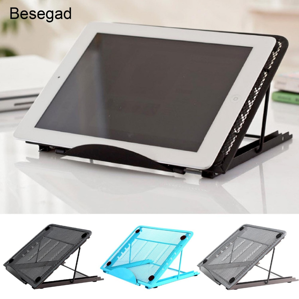 Besegad Portable Collapsible Laptop Cooling Bracket Adjustable Stand Holder Mount for iPad Air Pro Mini MacBook Notebook Tablet