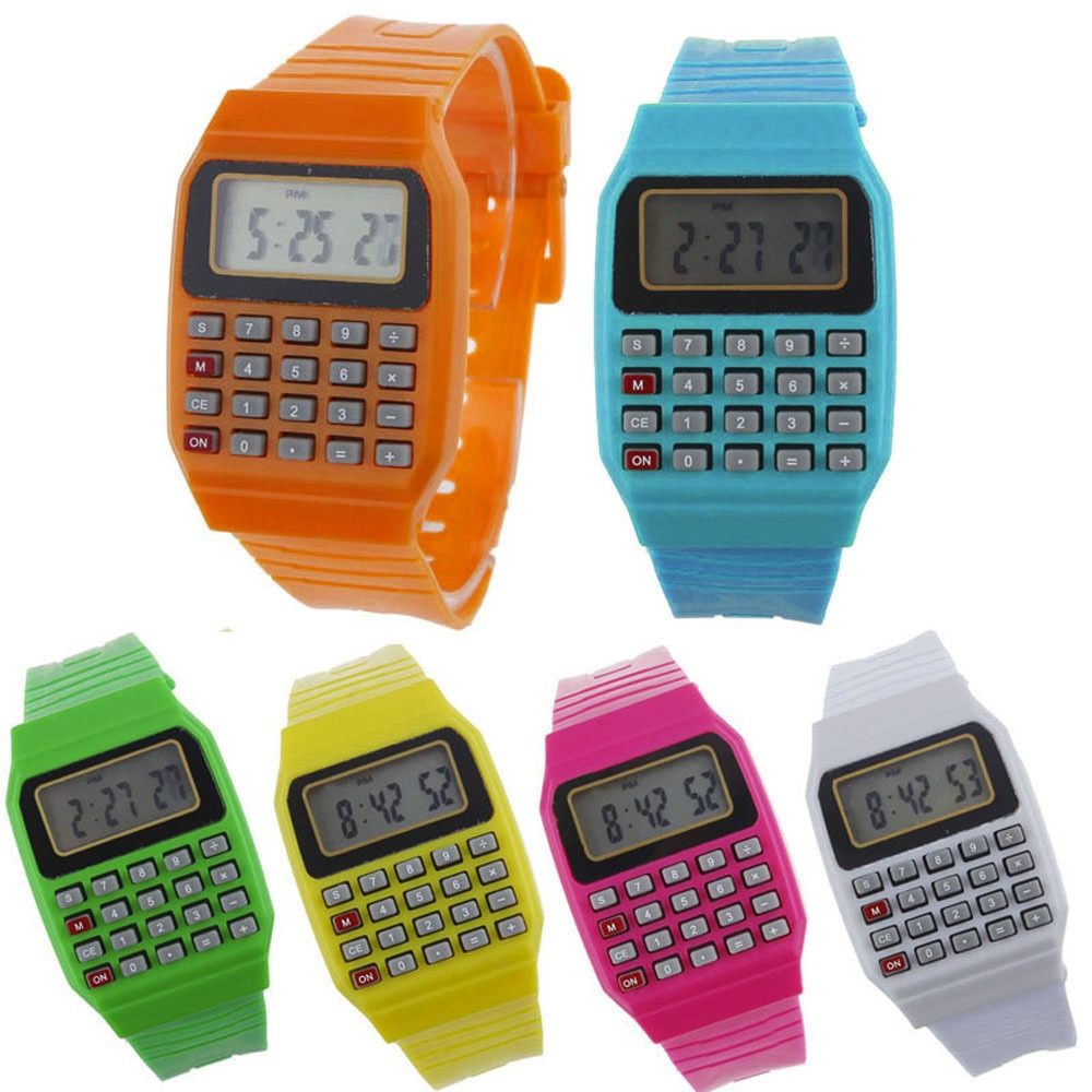 Boy and girl children Calculator watch live LED Clock Kid Silicone Multi-Purpose Date Time Electronic Digital Wrist Watch reloj