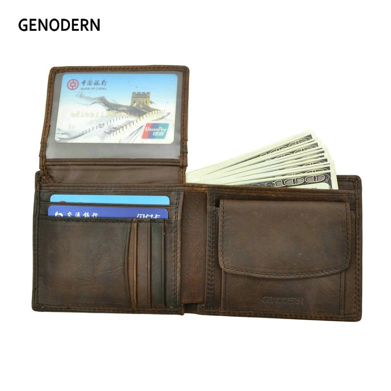 GENODERN Cow Leather Men Wallets with Coin Pocket Vintage Male Purse Function Brown Genuine Leather Men Wallet with Card Holders