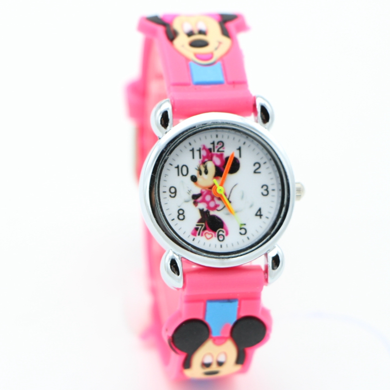 New 3D Cartoon Lovely mickey Kids Girls Boys Children Students Quartz Wrist Watch Popular watches Minnie mouse regarder clock