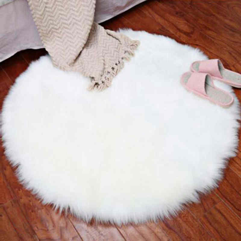 Urijk New Soft Faux Fur Wool Living Room Sofa Carpet Plush Carpets Bedroom Cover Mattress Xmas Door Window Round Rugs Carpets