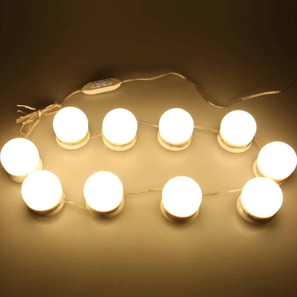 10 Bulb Hollywood Led Makeup Mirror Light Vanity Makeup Mirror Light 3 Colors Brightness Adjustable Make up Cosmetic Mirrors