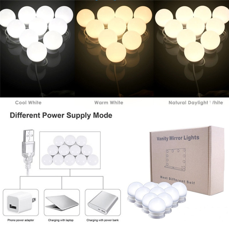 10 LED Mirror Bulbs Makeup Light Super Bright Portable Cosmetic Mirror Lights Kit Hollywood Style USB Charged Make Up#289551