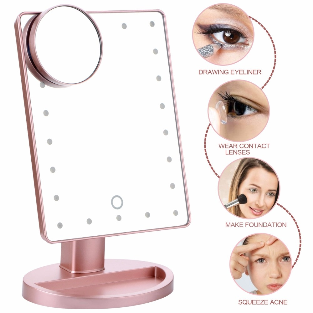 180 Degree Rotation Makeup Mirror With Led Light 10X Magnifying Mirror With Suction Cups Vanity Mirror Light Makeup Accessories