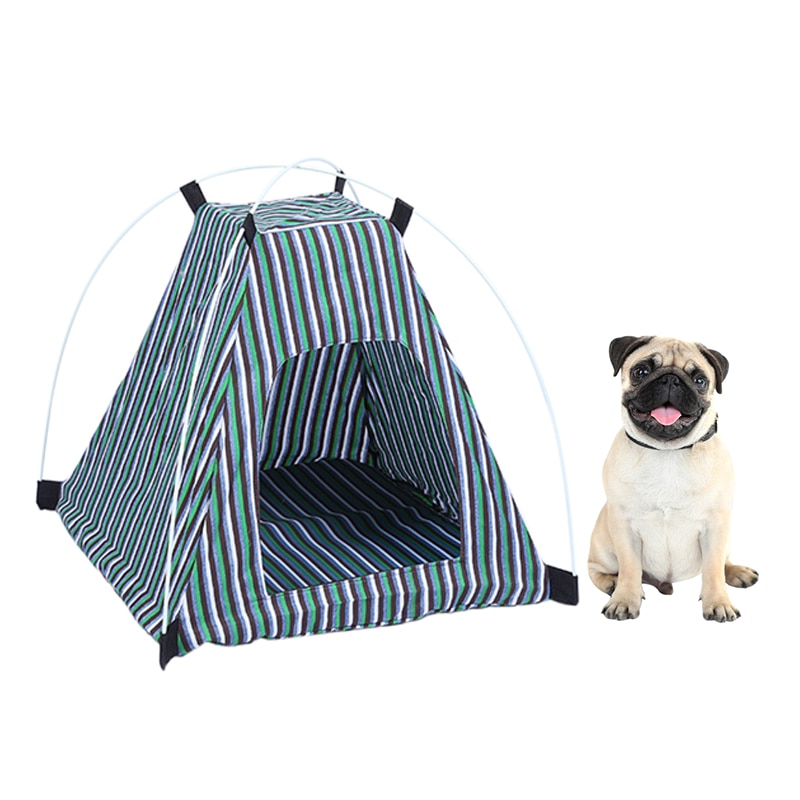 1PC  Pet Accessories Pet Cat House Soft Stripe Camouflage Dog Tent Kennel Cloth Mat Dog House Nest For Small Medium Dog Cat