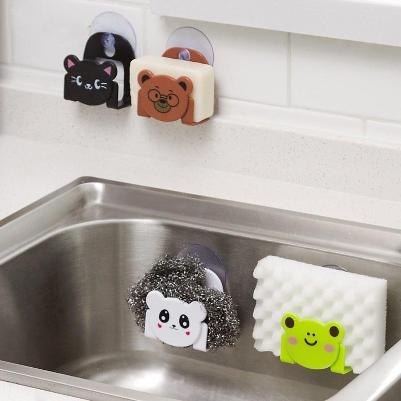 1PCS Creative Carton Dish Cloth Kitchen Accessories Sponge Holder with Suction Cup Home Decor Dinning Storage Kitchen Supplies.Q