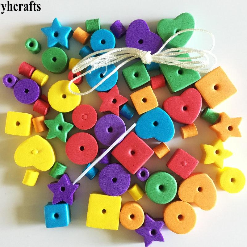 1bag(66PCS)/LOT.Geometric figure foam lacing beads.Creative handwork.Early educational toys.Kindergarten crafts beads toys cheap
