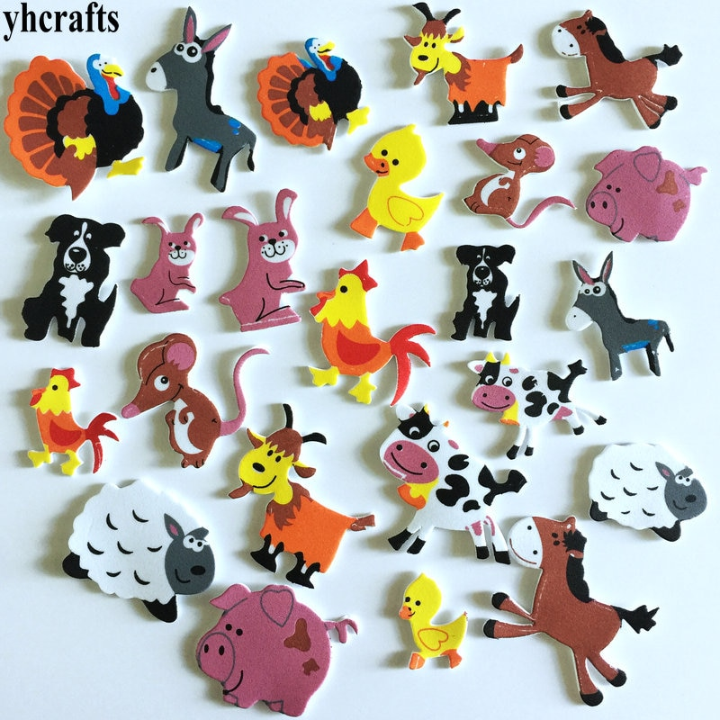 1bag/Lot.Farm animal foam stickers 15 design Scrapbooking kit.Early educational toys kindergarten arts crafts toys WholesaleOEM