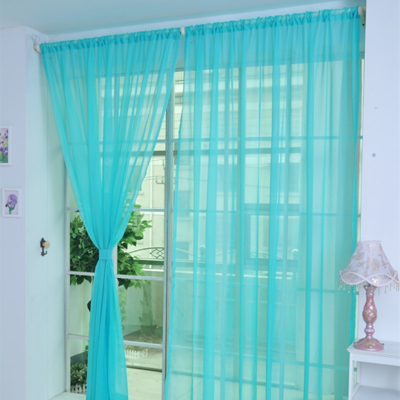 1pcs Hot Rainbow Solid Voile Door Window Curtains Drape Panel Sheer Tulle For Home Decor Living Room Bedroom Kitchen