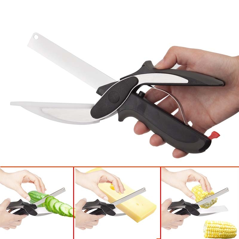 2 In 1 Kitchen Knives Kitchen Meat Scissors Knife&Board Stainless Steel Kitchen Knife Meat Potato Cheese Vegetable Cutter