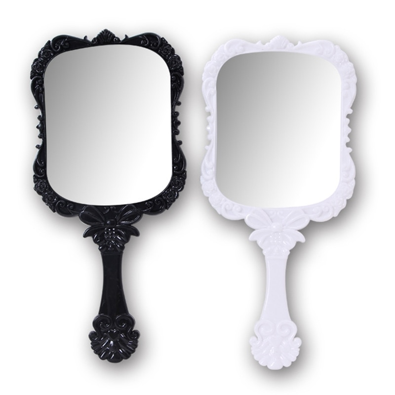 2018 1pcs Cute 2Color Black White Makeup Mirror Plastic Vintage Hand  Held Portable Cosmetic Mirrors Retro Pattern Beauty Mirror