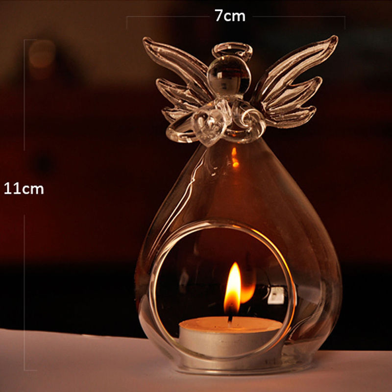 2018 Brand New Angel Glass Crystal Hanging Tea Light Candle Holder Home Decor Candlestick /01