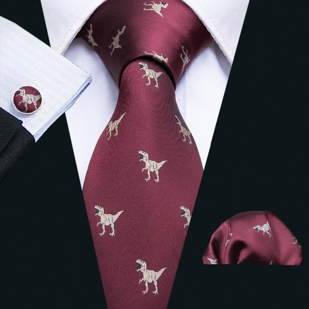 2018 New Arrival Men's Ties Dinosaur Pattern Red Mens Wedding Neckties 8.5cm Necktie Business Silk Ties For Men Tie FA-5060