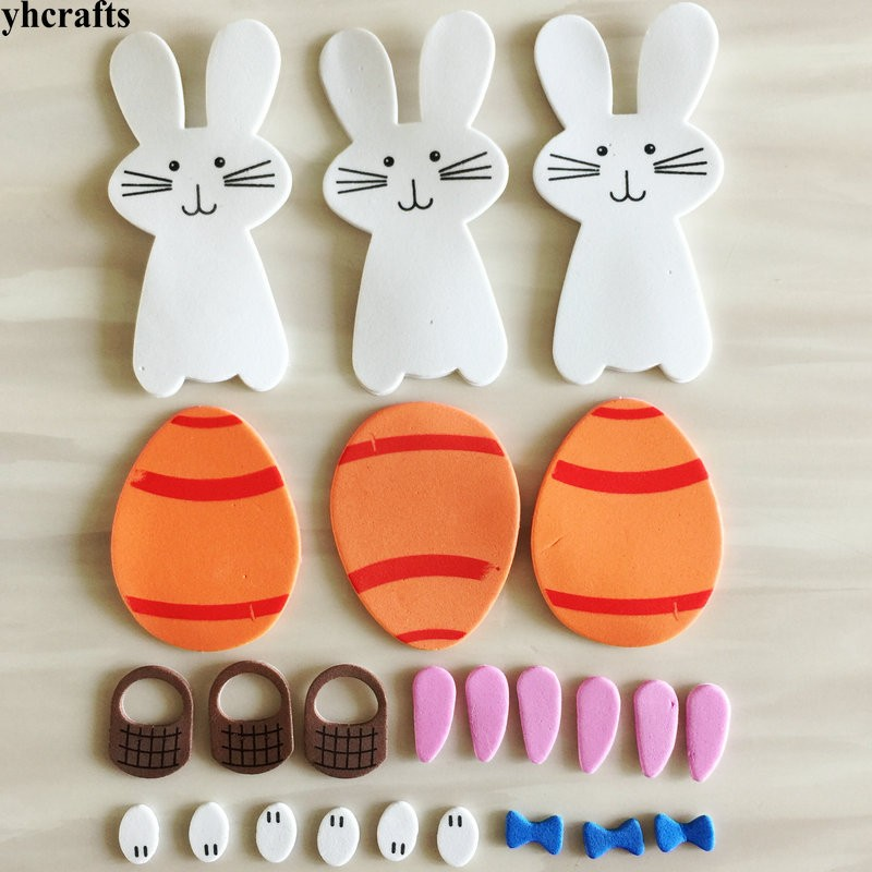 24PCS/LOT.Rabbit Egg carrot Easter foam stickers Easter Activity items Wall label Spring crafts Kids room decoration Decorative