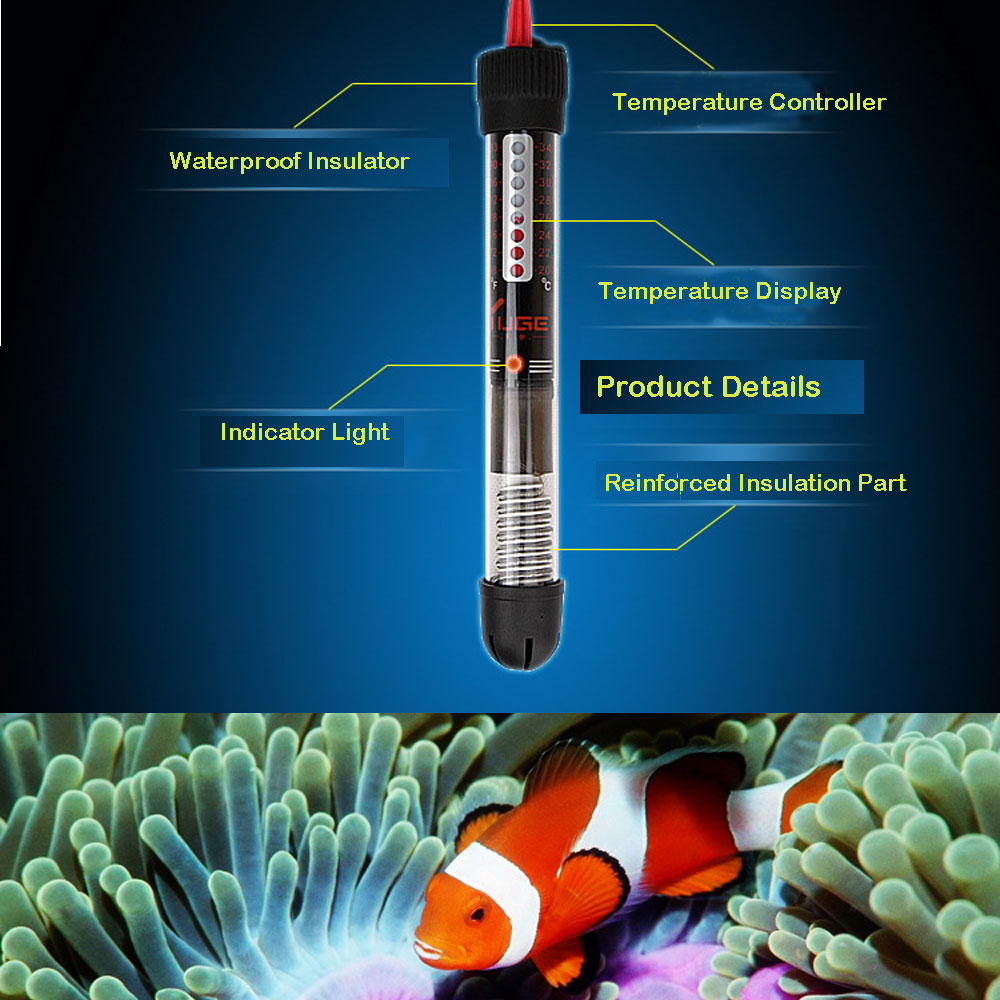 25W / 50W / 100W / 200W / 300W Pet Product Aquarium Accessories Submersible Heater Heating Rod for Fish Tank Aquarium Heater