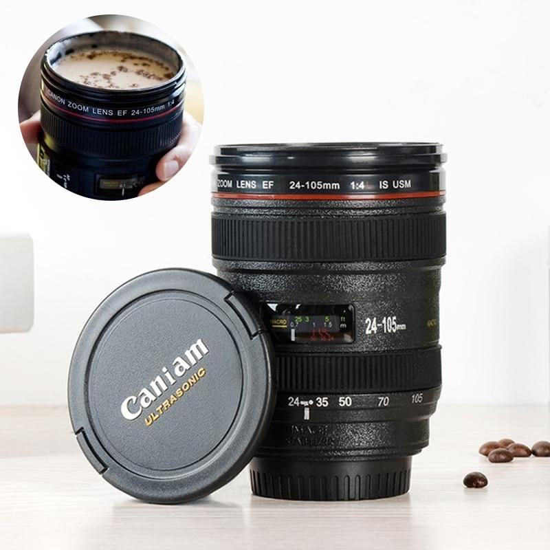 300-400ml Camera Lens Shaped Mug With Lid Vacuum Flasks Coffee Mugs Tea Cup Novelty Gifts Caneca Drinkware Travel Hiking