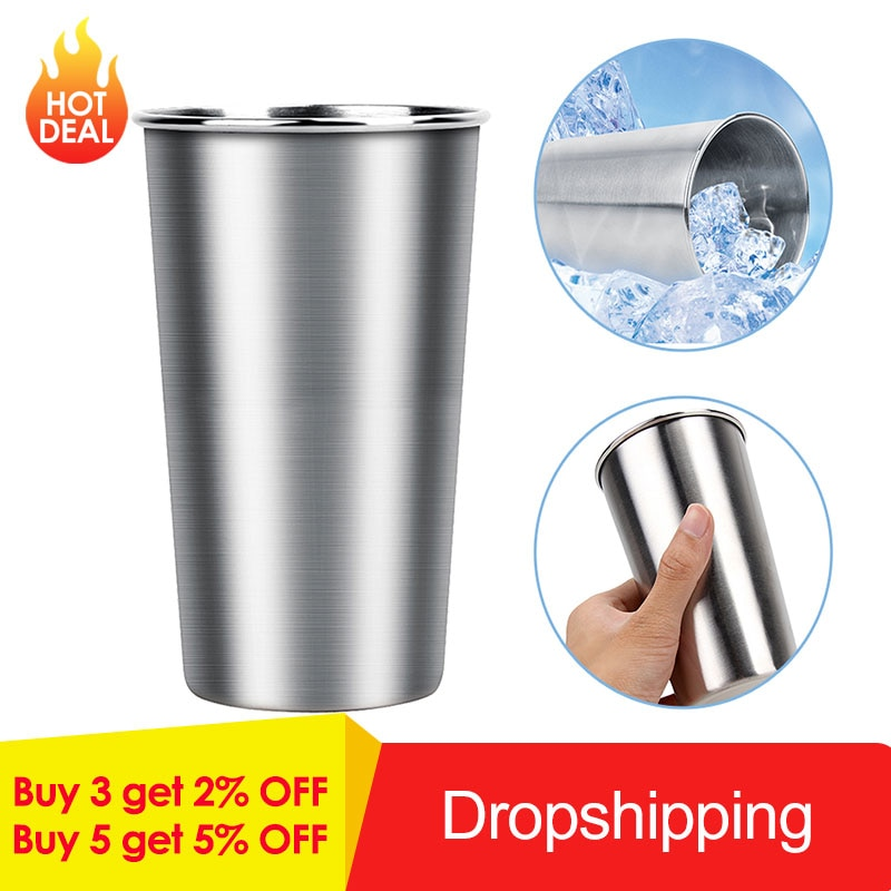 350ML/500ML Stainless Steel Mugs Metal Travel Mugs Tumbler Pint Glasses Cups Outdoor Camping Drinking Coffee Tea Beer