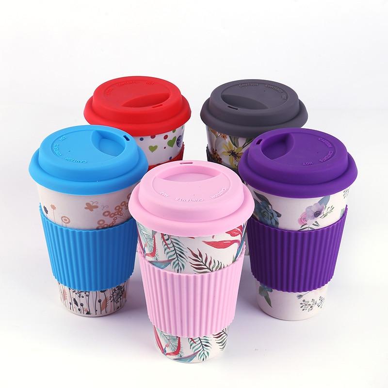 400ml Eco-Friendly Bamboo Fiber Coffee Mug Travel Mug With Lid Portable Beer Mugs Tea Cups Milk Cup for Christmas Gifts