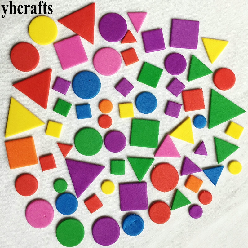 4bags(100-1000PCS)/Lot Irregular geometric figure Foam sticker Kid toy Early educational learning kindergarten craft diy toy OEM