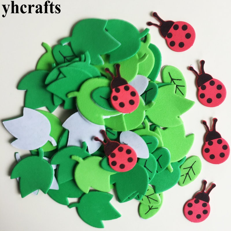 70PCS/LOT.Ladybug leaves foam stickers Spring Easter crafts Early learning educational diy toys Kids room decorration Creative