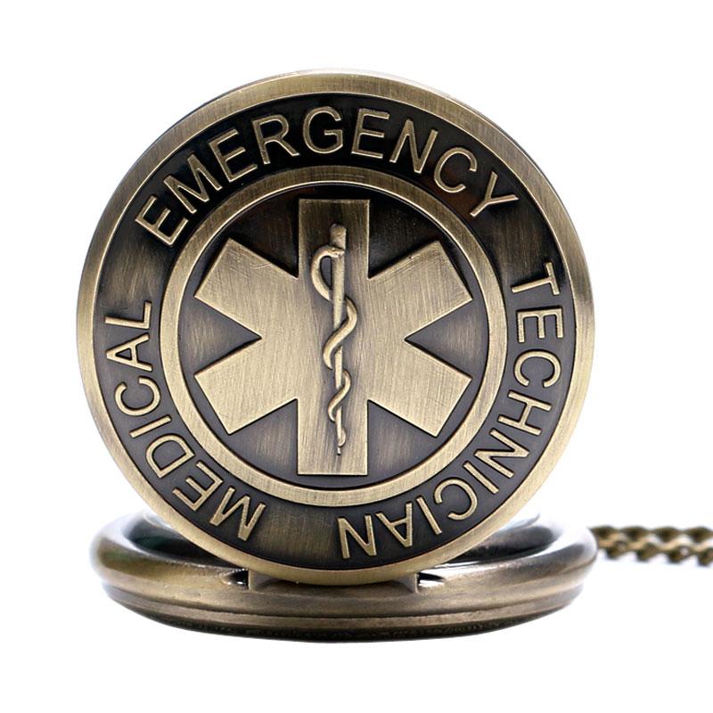 Antique EMT Design Quartz Full Hunter Emergency Medical Technician Necklace Chain Nurse Doctor Pocket Watch Best Gifts