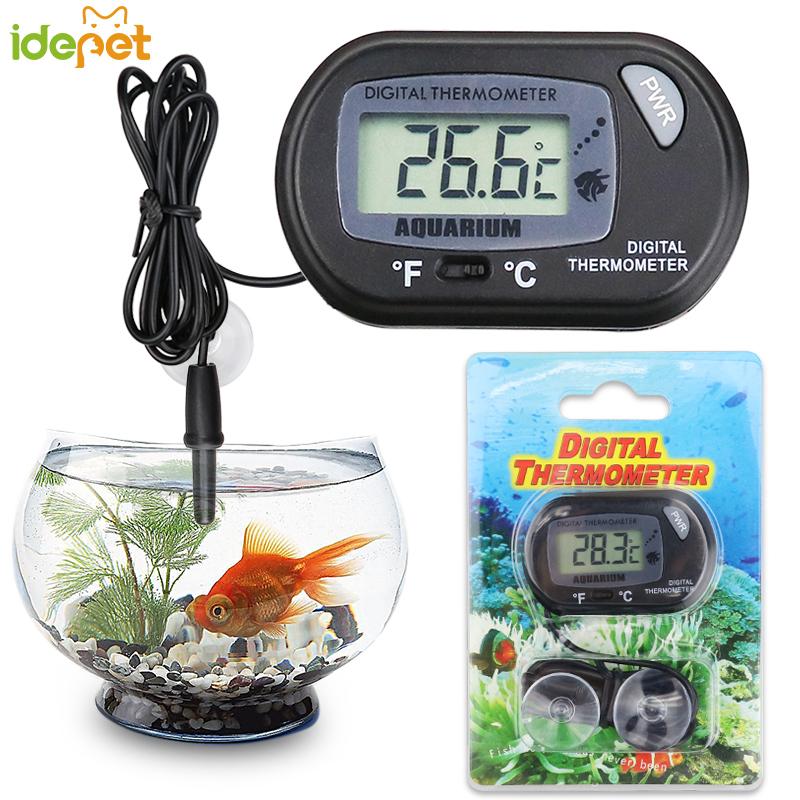 Aquarium Fish Tank Thermometer Pet Peptile Digital Thermometer Suction Cup Temperature Control Products Pet Box Sucker Diving b3
