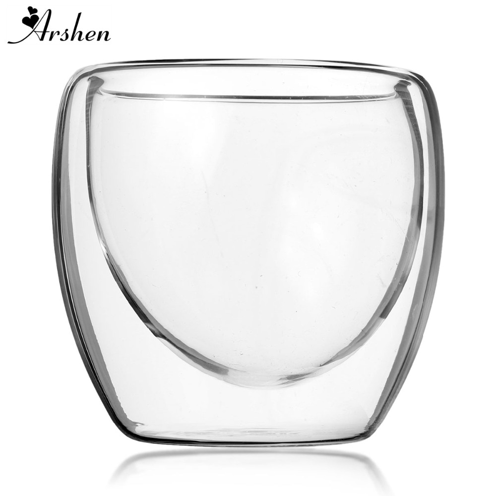 Arshen 80ml Double Wall Glass Clear Handmade Heat Resistant Mini Tea Drink Cups Healthy Drink Mug Coffee Cups Insulated Glass