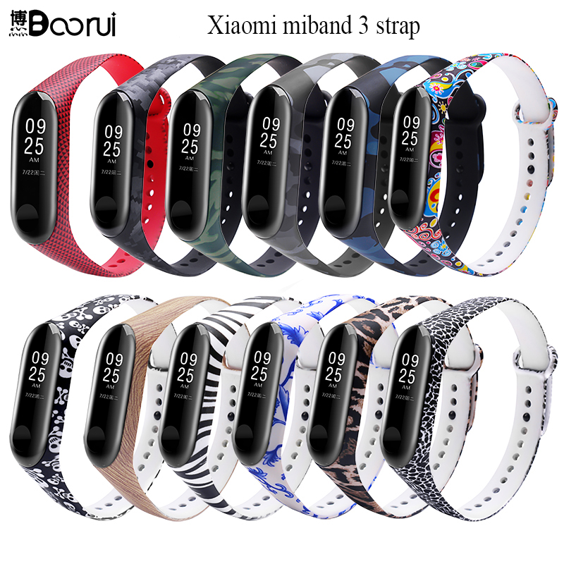 BOORUI Miband 3 Strap Mi band 3 Accessories Replacement silicone varied wrist strap for xiaomi mi 3 smart bracelets