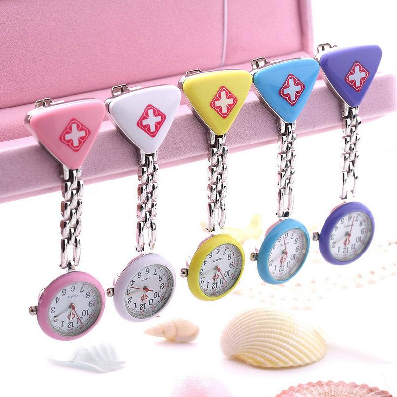 BUMVOR 1PC Hot Sale 2018 Clip Nurse Doctor Pendant Pocket Quartz Red Cross Brooch Nurses Watch Fob Hanging Medical reloj