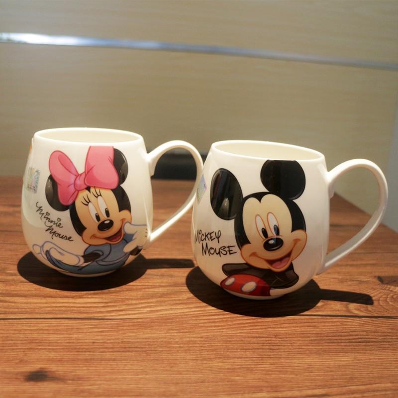 Cartoon Mug Mickey Minnie Ceramic Cups Milk 320ml Creative Fashion Couples Mug Coffee Water Cup Cute Breakfast Cup Xmas Gift