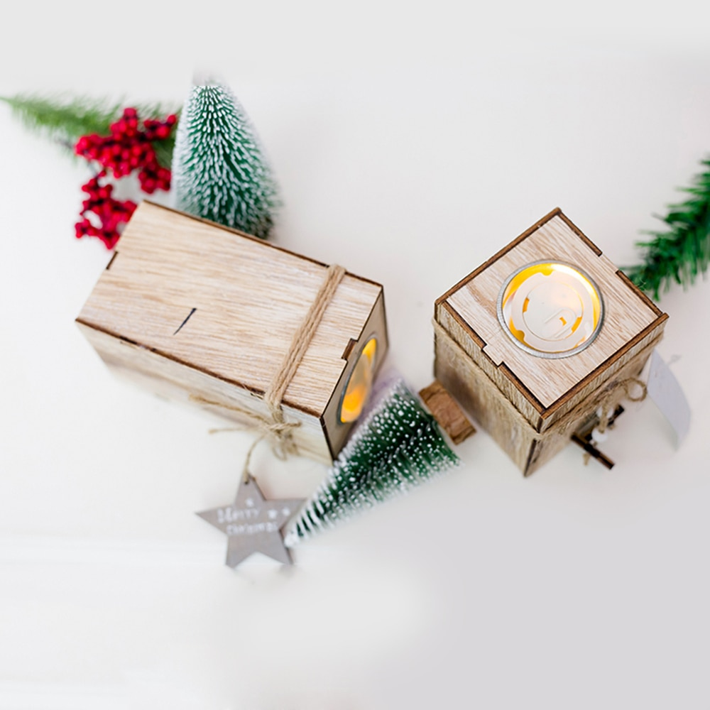 Christmas Decorative Lanterns Wood Candlestick Candle Holder With Hanging Star Christmas Tree Decoration Wedding Home Decor Gift