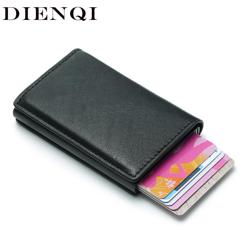 DIENQI Rfid Card Holder Men Wallets Money Bag Male Vintage Black Short Purse 2018 Small Leather Slim Wallets Mini Wallets Magic