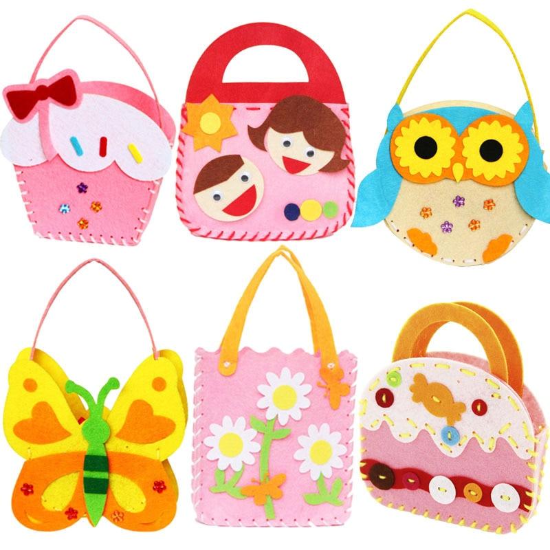 DIY Traning Toy Children Mini Bags Non-woven Cloth Colorful Handmade Bag Cartoon Animal Children Handbags Children Sewing Toy