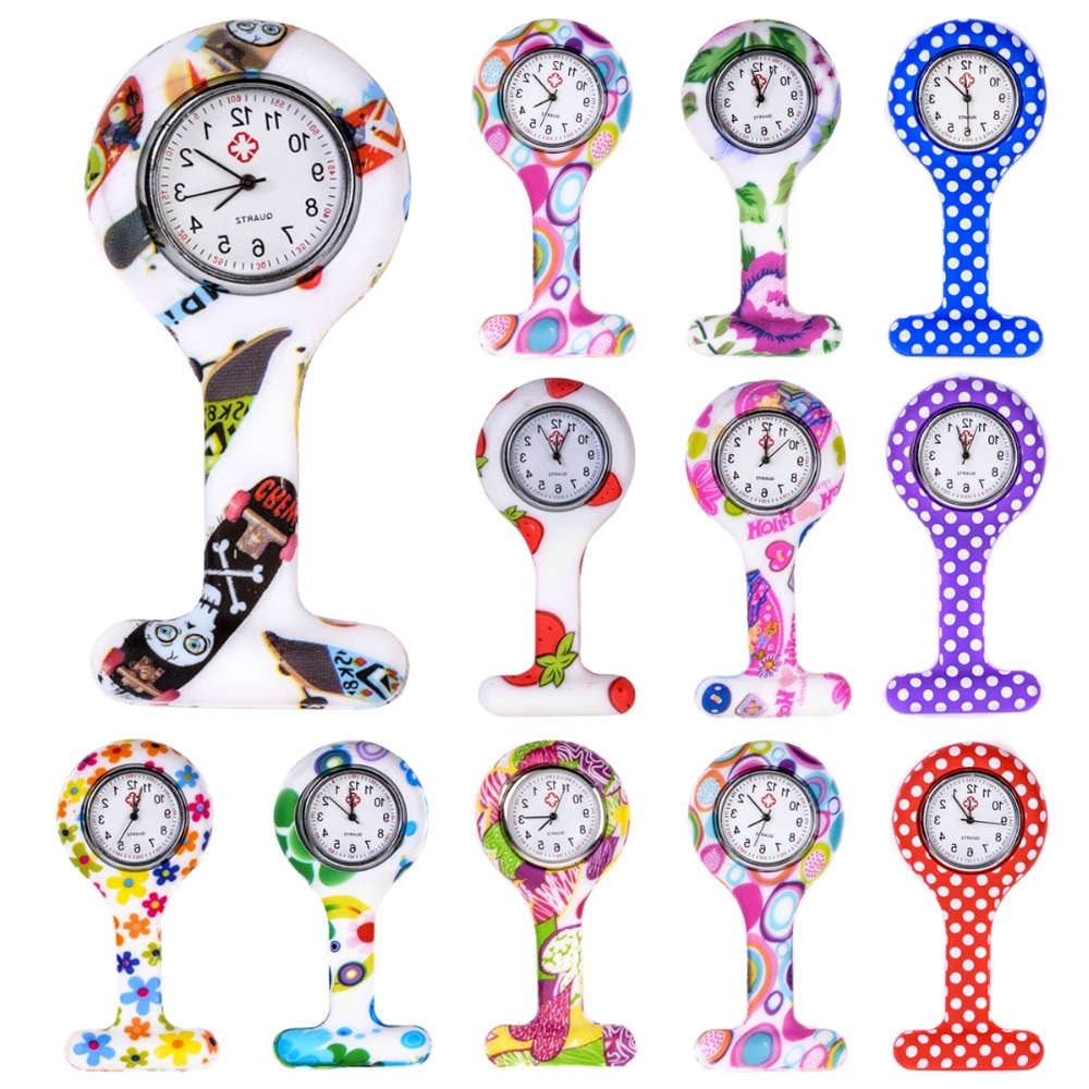 Fashion Colorful Silicone Medical Nurse Watches Portable Brooch Fob Pocket Quartz Watch Hanging Pendant with Clip Gift 12 Styles