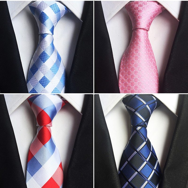 GUSLESON Classic 100% Silk Mens Ties New Design Neck Ties 8cm Plaid&Striped Ties for Men Formal Business Wedding Party Gravatas