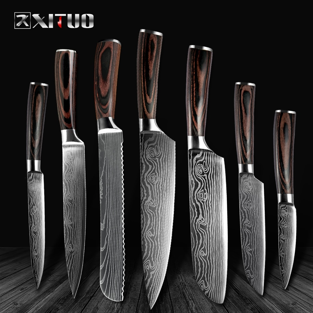 """High quality 8""""inch Utility Chef Knives Imitation Damascus steel Santoku kitchen Knives Sharp Cleaver Slicing Knives Gift Knife"""