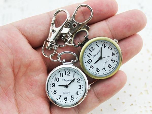 Hot Popular Women's Cute Nurse Fob Brooch Pocket Watch Bronze Quartz vintage pocket watch Movement Keychain Keyring Watch