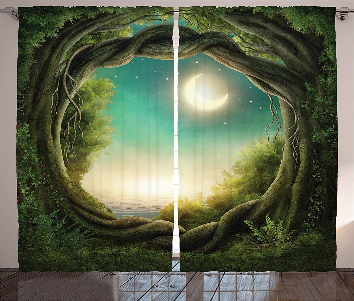 Kids Curtains Decor Trees in Enchanted Forest Full Moon Artistic Artwork Girls Boys and Family Living Room Bedroom Window Drapes