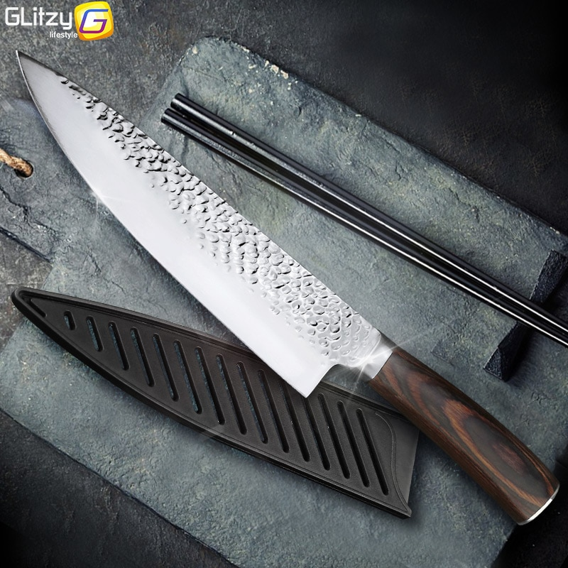 Kitchen Knife 8 inch Professional Japanese Chef Knives 7CR17 440C High Carbon Stainless Steel Meat Santoku Knife Dropshipping