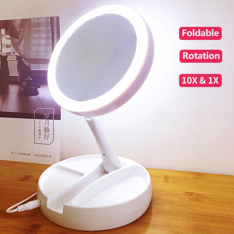 LED lights Mirror Folding 10x Magnification Makeup Mirror Compact Stand Hand Cosmetic Mirror Woman Pocket Mirrors make up vanity