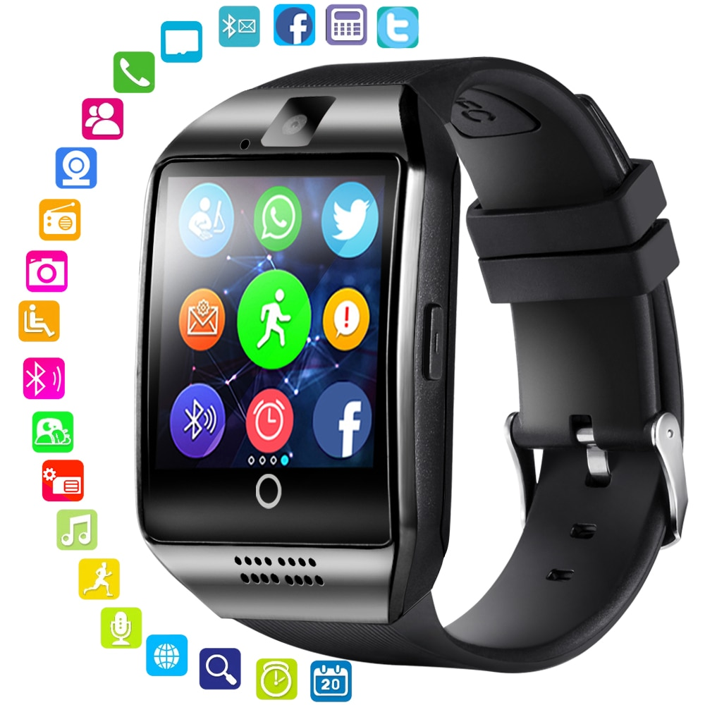 LEMFO Bluetooth Smart Watch Men Q18 With Touch Screen Big Battery Support TF Sim Card Camera for Android Phone Smartwatch