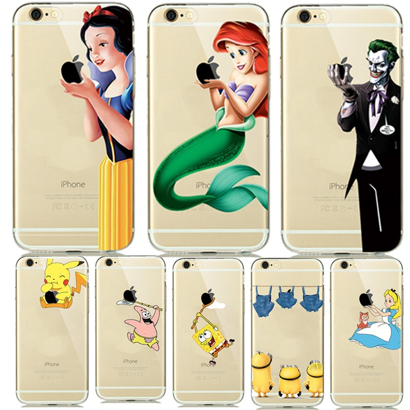 Lovely Princess Snow White Cinderella Mermaid Silicone Case for capinhas iphone 8 7 Plus 6 6s 5s SE Clear Case Cover Clown Joker