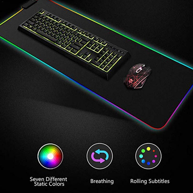 Luminous Gaming Mouse Pad RGB Oversized Glowing USB LED Extended Illuminated Keyboard PU Non-slip Blanket Mat