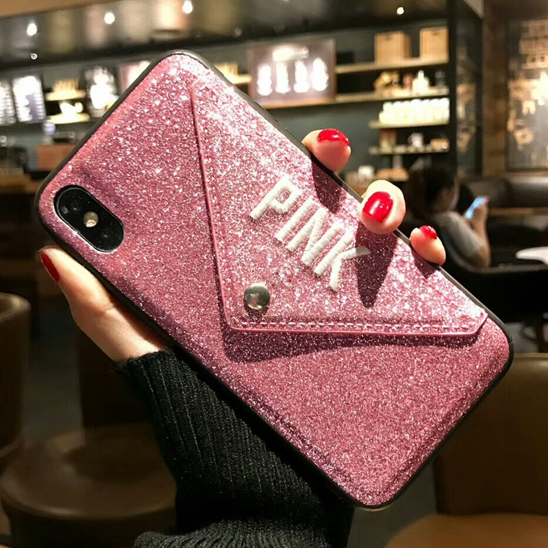 Luxury PINK Brand NEW Glitter Embroidery Leather Fashion Hot Cute Pink Case for iPhone 7 Plus 7+ 8 Plus 6 6s Plus X Phone Secret
