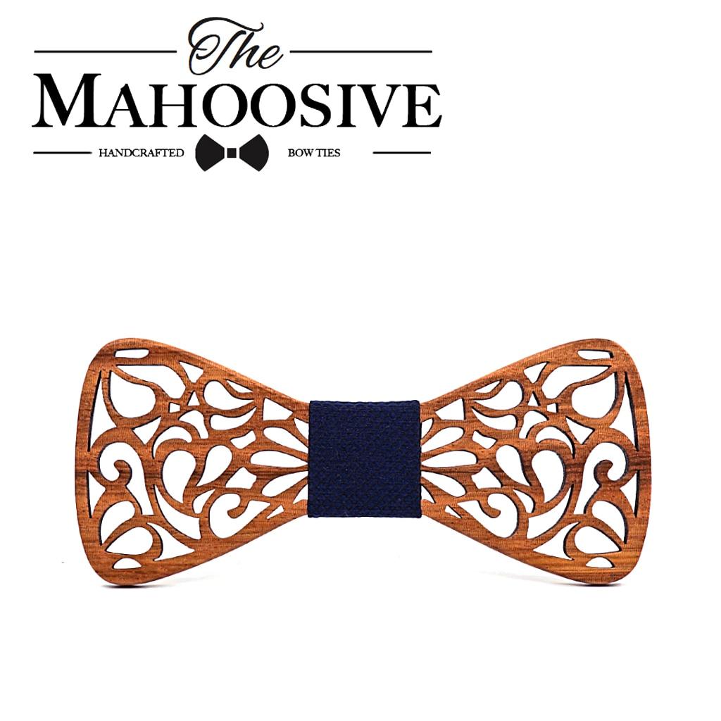 Mahoosive New Floral Wood Bow Ties for Men Bowtie Hollow Butterflies Wedding suit wooden bowtie Shirt krawatte Bowknots Slim tie